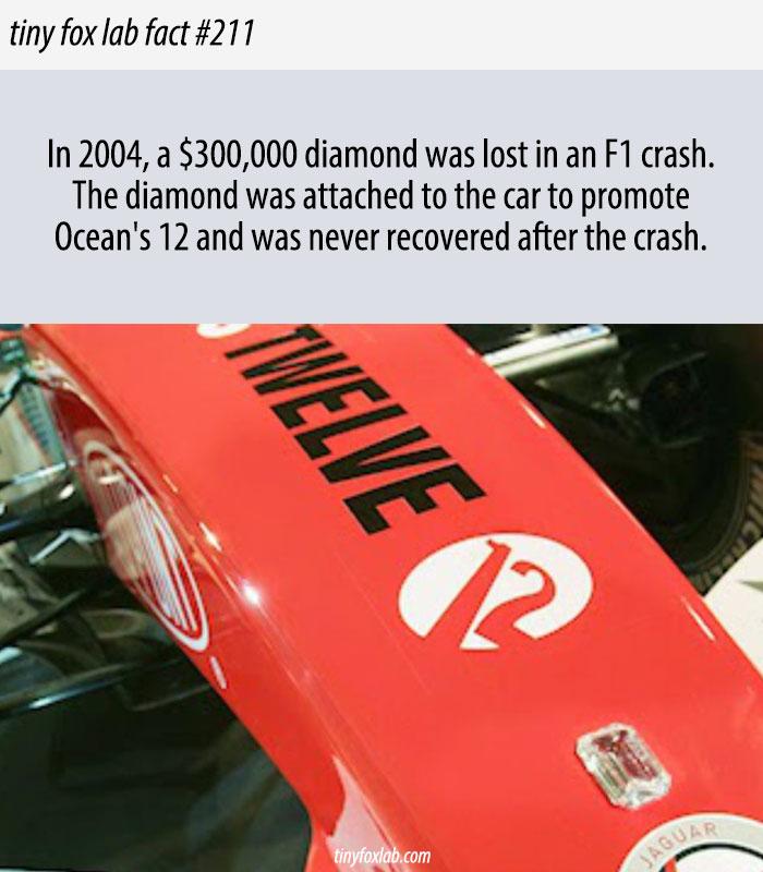 $300,000 Diamond Was Lost in an F1 Car Crash