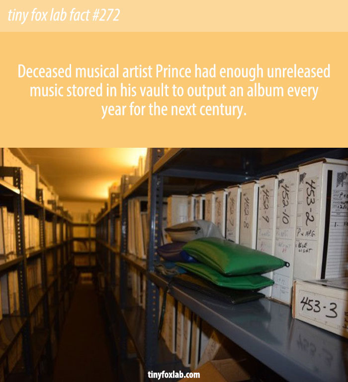 Deceased musical artist Prince had enough unreleased music stored in his vault to output an album every year for the next century.
