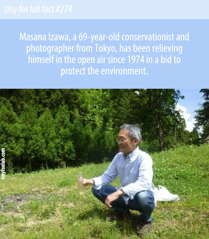 Masan Izawa has been emptying his bowels outdoor since 1974 in a bid to help protect the planet.