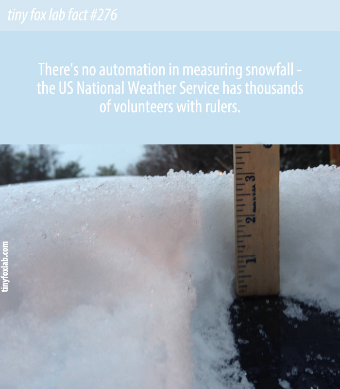 There's no automation in measuring snowfall - the US National Weather Service has thousands of volunteers with rulers.