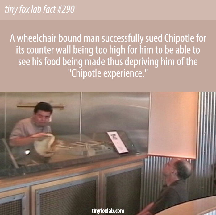 A disabled person sued Chipotle because he couldn't see his burrito being made, and was 'Denied the Chipotle Experience'.