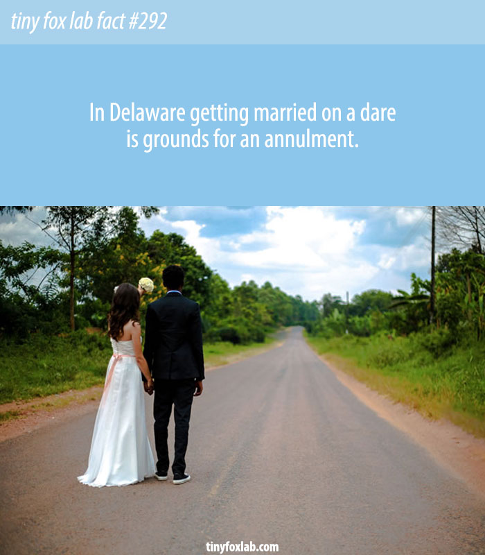 In Delaware getting married on a dare is grounds for an annulment.