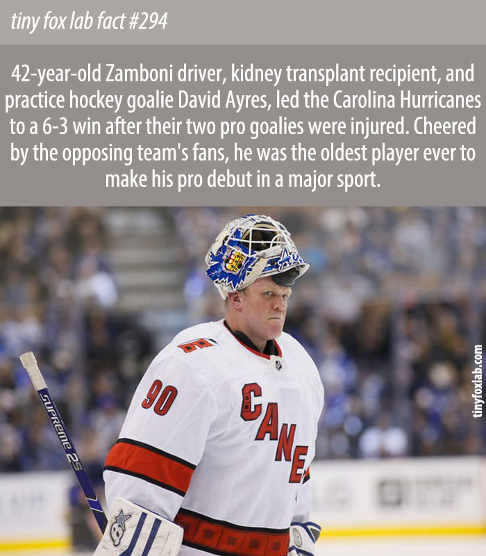 Ayres was the first-ever emergency backup goalie to get an NHL win.