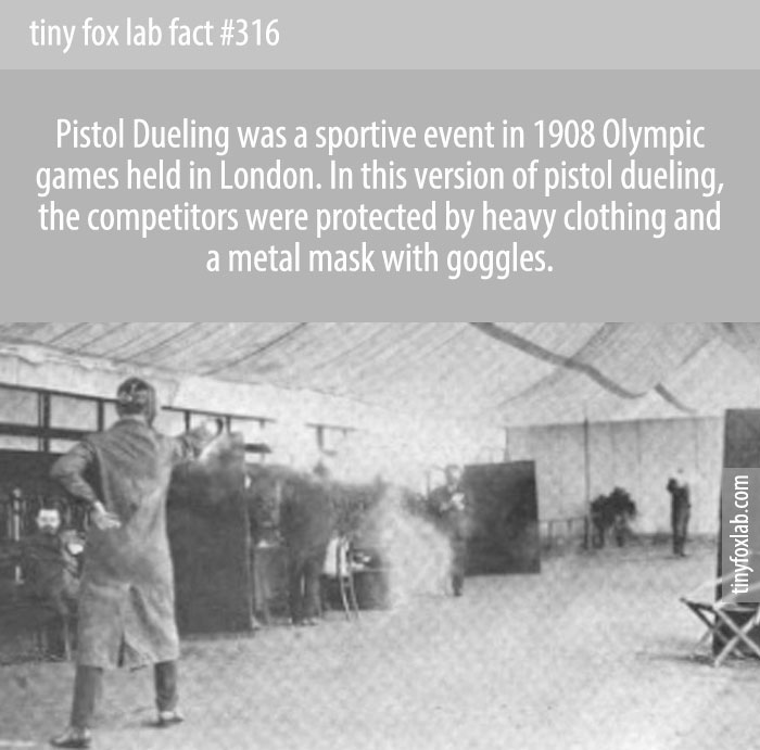 The competition involved two male competitors firing at each other with dueling pistols loaded with wax bullets and wearing protective equipment for the torso, face, and hands.
