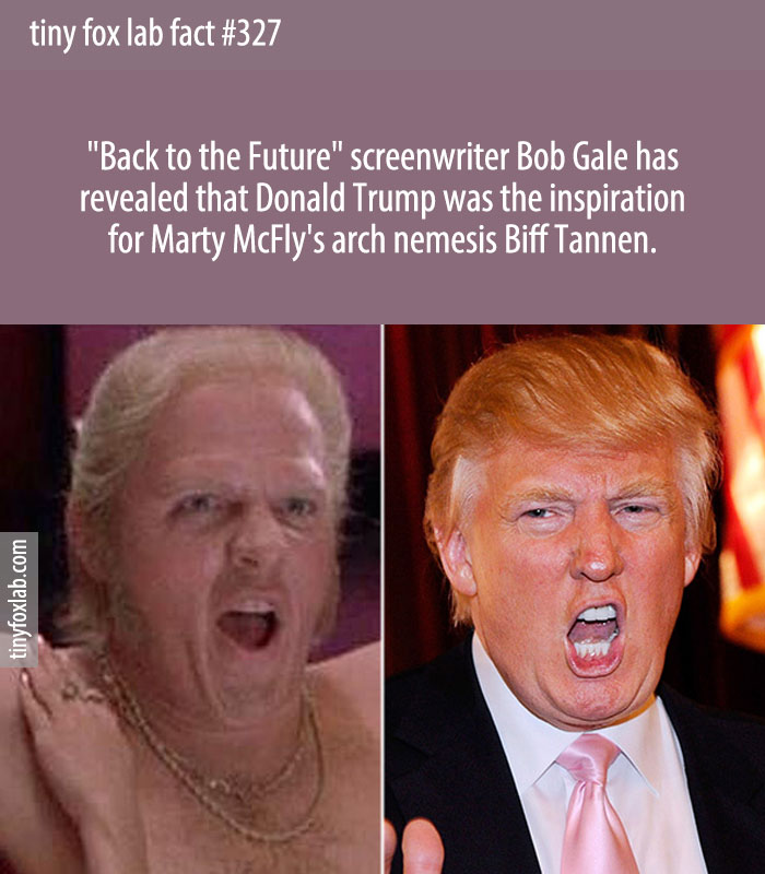 Screenwriter Bob Gale confirmed Marty McFly's nemesis in the trilogy, Biff Tannen, was modelled on Donald Trump.