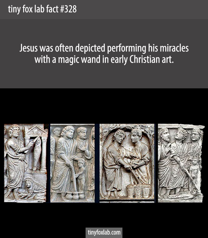 Jesus was often depicted performing his miracles with a magic wand in ancient Christian sarcophagi.