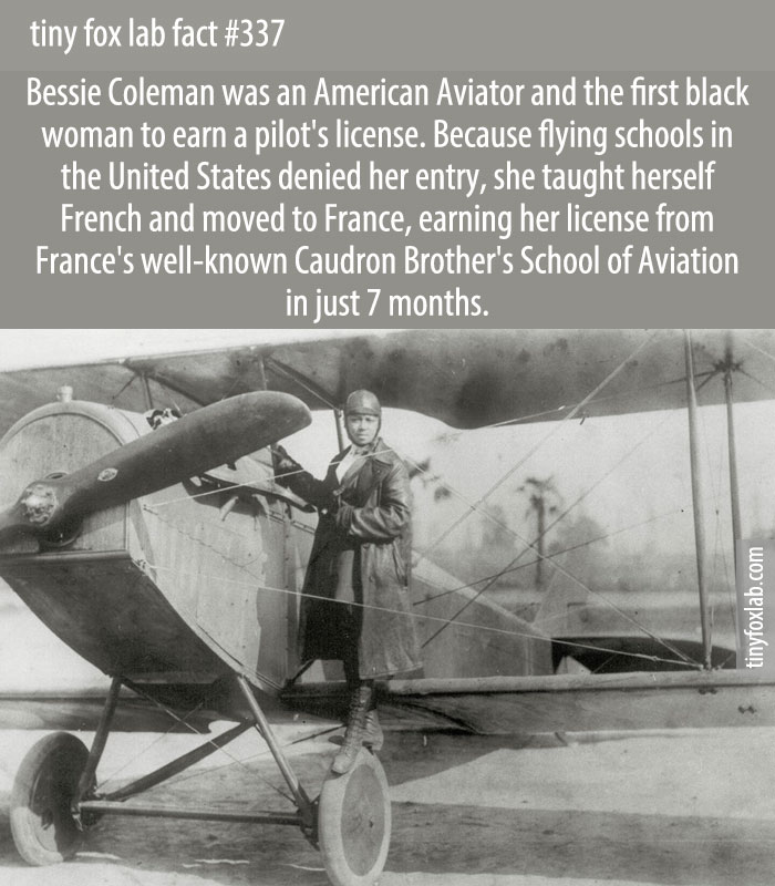 In 1921 Coleman became the first black woman in the United States to earn a pilot's license, then barnstormed around the country thrilling audiences and inspiring later generations.