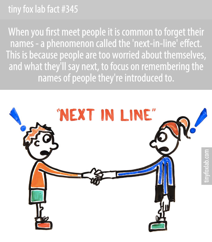 When you first meet people it is common to forget their names - a phenomenon called the 'next-in-line' effect.