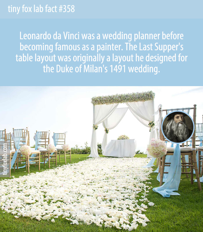 Leonardo Da Vinci was a wedding planner from 1489 to 1493, and in 1491 he even planned the wedding for the Duke of Milan. Da Vinci created the menu, the entertainment and even the decorations.