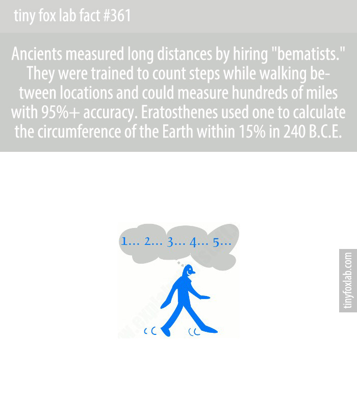 Ancients measured long distances by hiring 'bematists.' They were trained to count steps while walking between locations and could measure hundreds of miles with 95%+ accuracy. Eratosthenes used one to calculate the circumference of the Earth within 15% in 240 B.C.E.