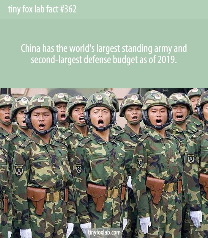 China has the world's largest standing army and second-largest defense budget as of 2019.
