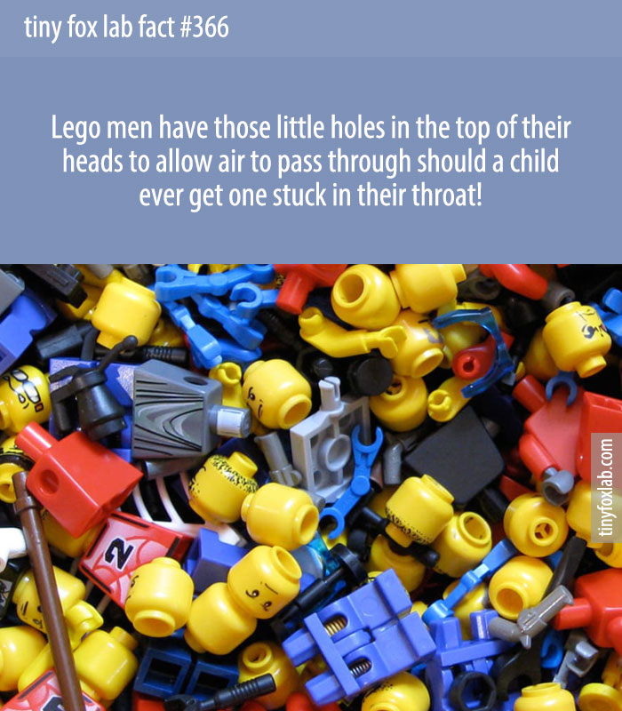 Lego men have those little holes in the top of their heads to allow air to pass through should a child ever get one stuck in their throat!