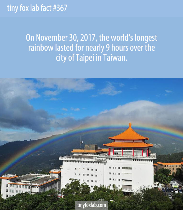 The rainbow, reportedly visible from 6:57 a.m. to 3:55 p.m. on Nov. 30, spanned the mountains near Taipei's Chinese Culture University for eight hours and 58 minutes.