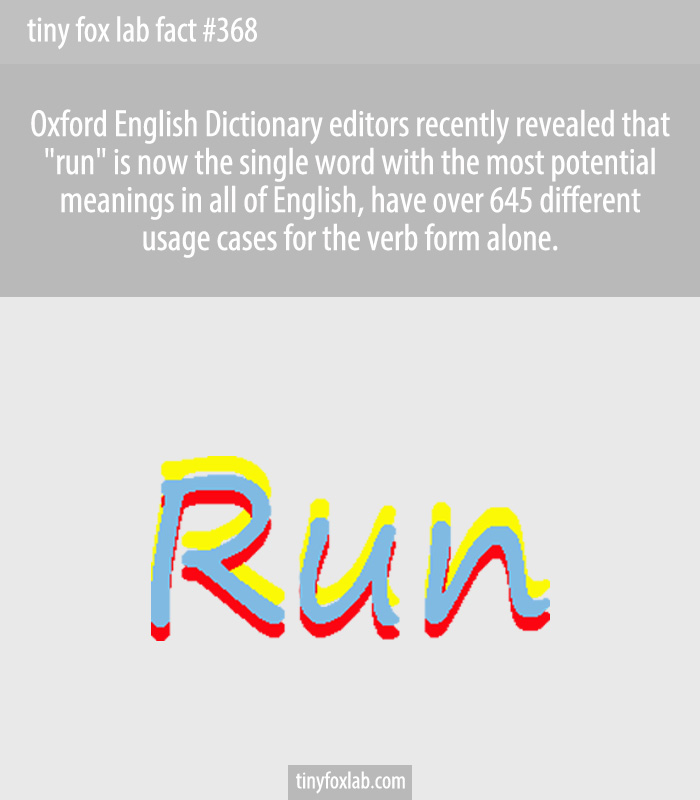The little word 'run' — in its verb form alone — has 645 distinct meanings.