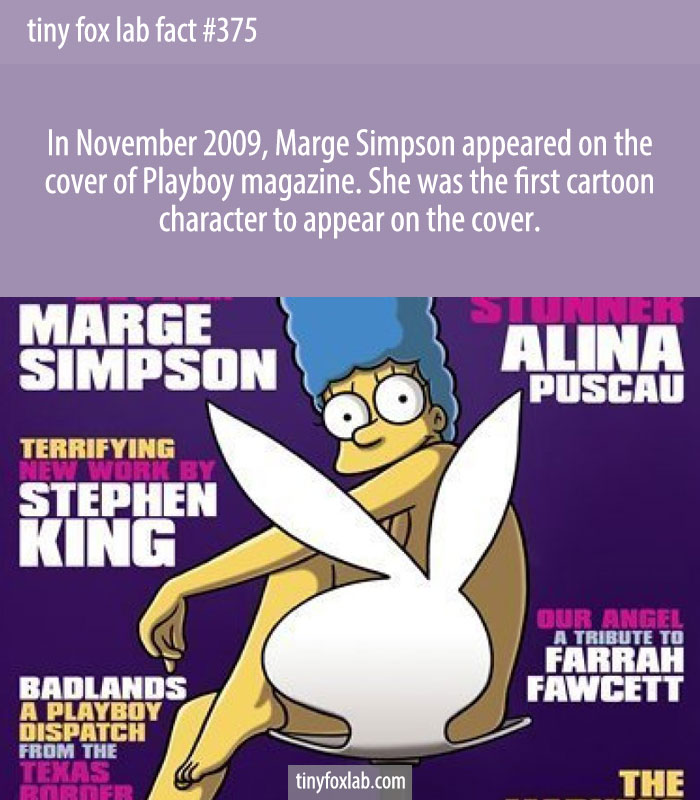 In November 2009, Marge Simpson appeared on the cover of Playboy magazine. She was the first cartoon character to appear on the cover.
