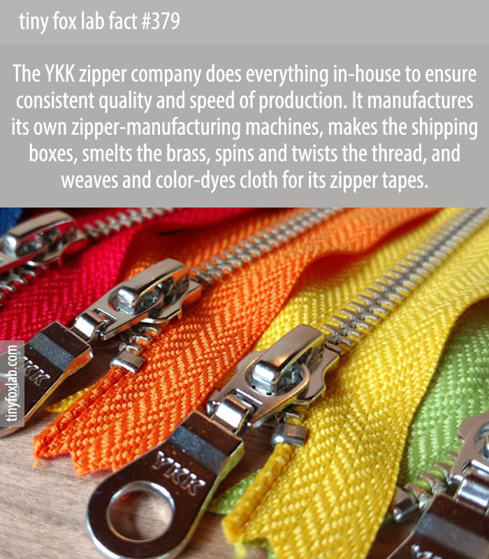 The zipper company YKK produces everything in-house, including its zipper-manufacturing machines and shipping boxes.