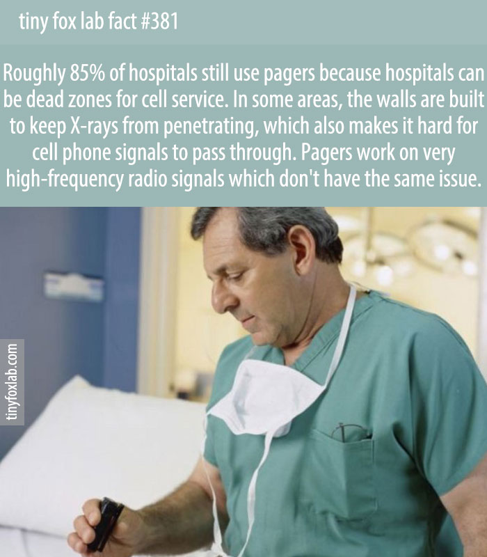 Roughly 85% of hospitals still use pagers because hospitals can be dead zones for cell service.