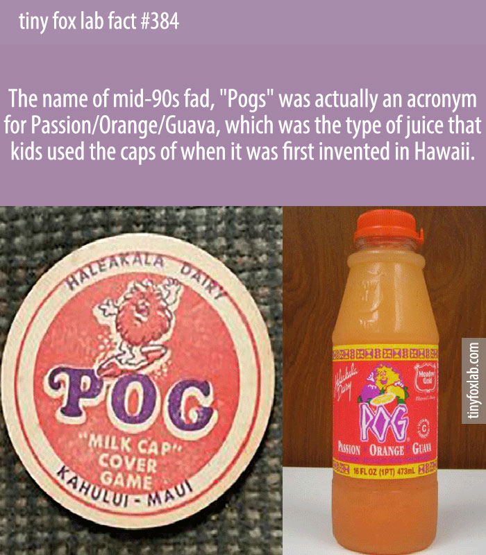 POG, or Passion fruit-Orange-Guava, is a tropical juice drink created in 1971.