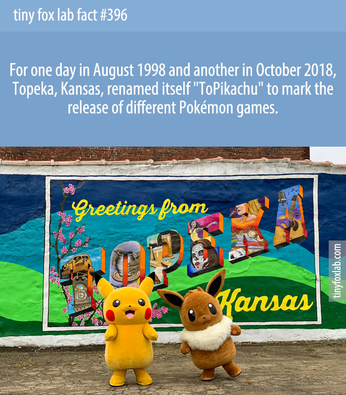 For one day in August 1998 and another in October 2018, Topeka, Kansas, renamed itself