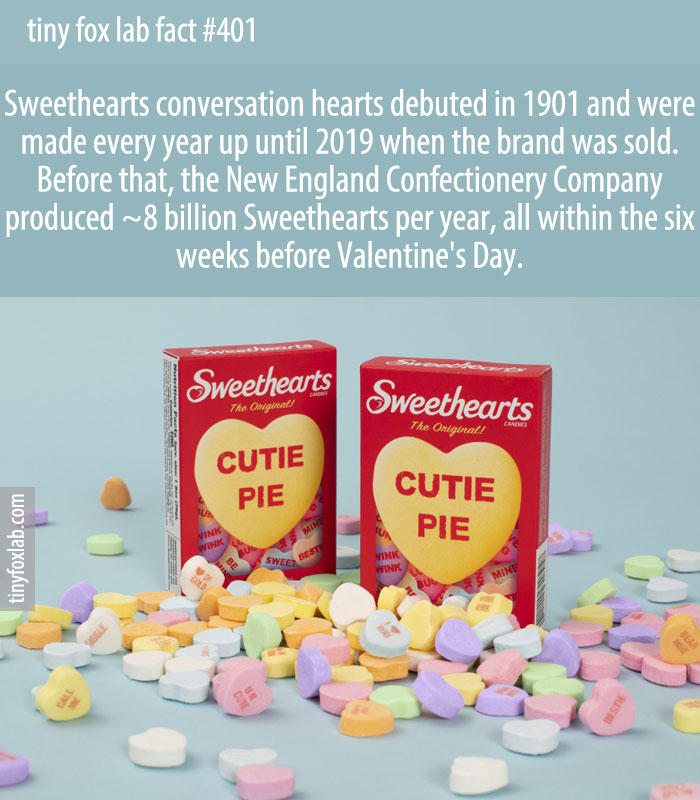 Sweethearts conversation hearts debuted in 1901 and were made every year up until 2019 when the brand was sold.