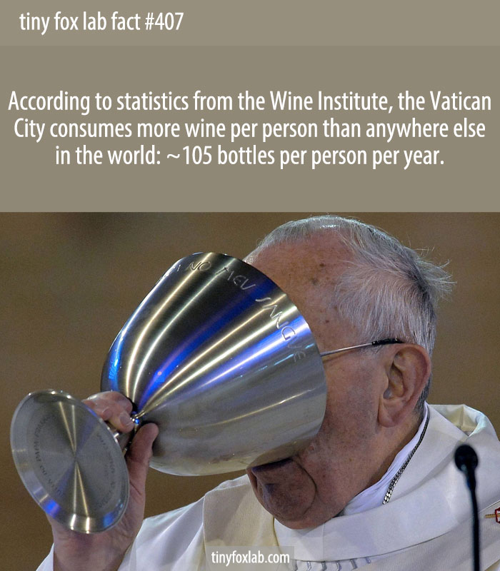 According to statistics from the Wine Institute, the Vatican City consumes more wine per person than anywhere else in the world: ~105 bottles per person per year.