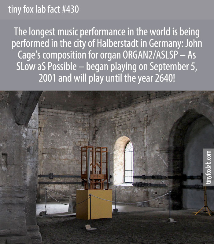 ORGAN2/ASLSP, the slowest and longest music piece ever, is being performed for 639 years in Halberstadt.