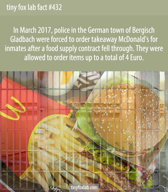 Police in the German town of Bergisch Gladbach have been ordering takeaway McDonalds for inmates after a food supply contract fell through.