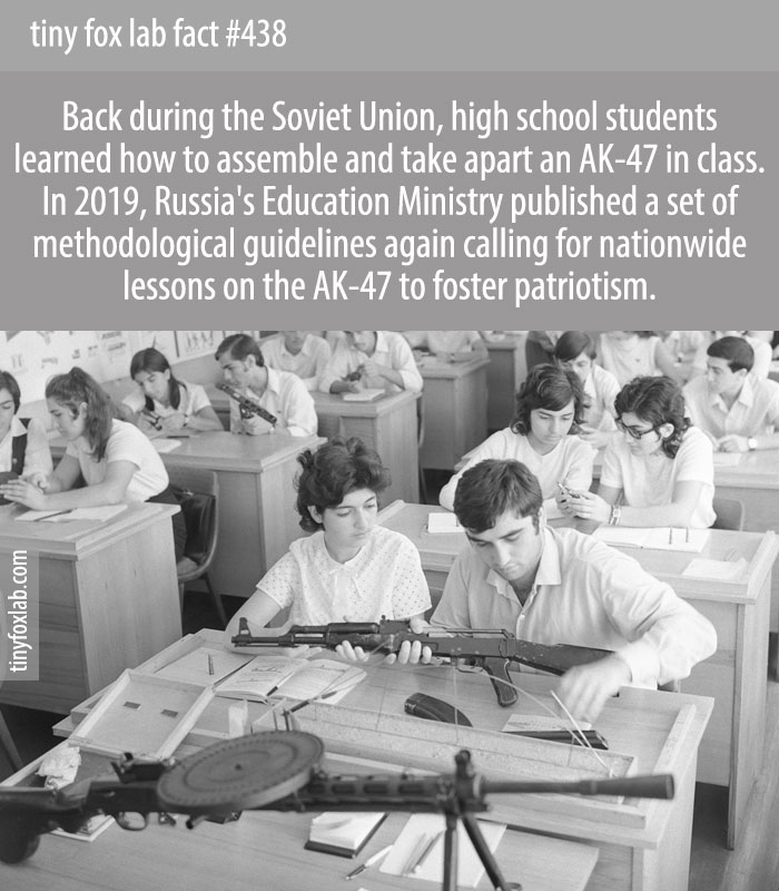 Back during the Soviet Union, high school students learned how to assemble and take apart an AK-47 in class. In 2019, Russia's Education Ministry published a set of methodological guidelines again calling for nationwide lessons on the AK-47 to foster patriotism.